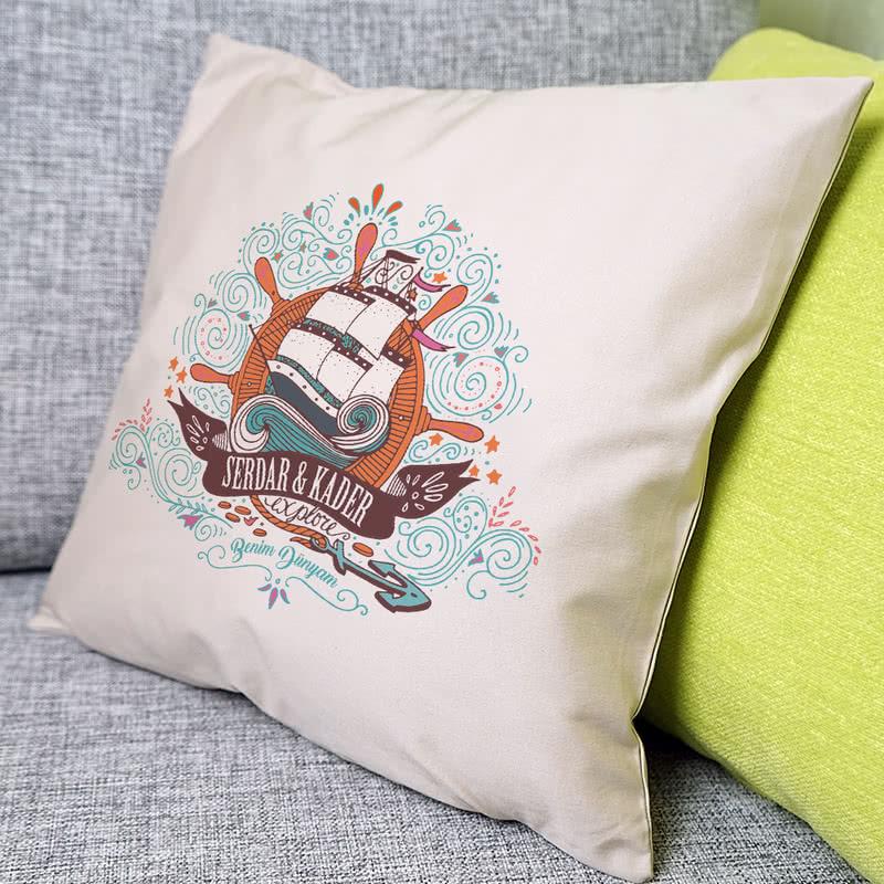 Deniz Tutkunlarına Yelkenli Tasarımlı Hediye Yastık