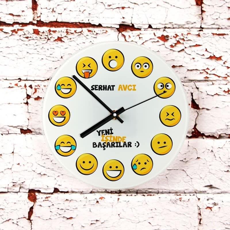 Emoji Baskılı Yeni İş Hediyesi Cam Duvar Saati