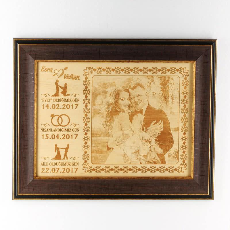 Evli Çiftler İçin Unutulmaz Anlara Özel Çerçeveli Ahşapfoto