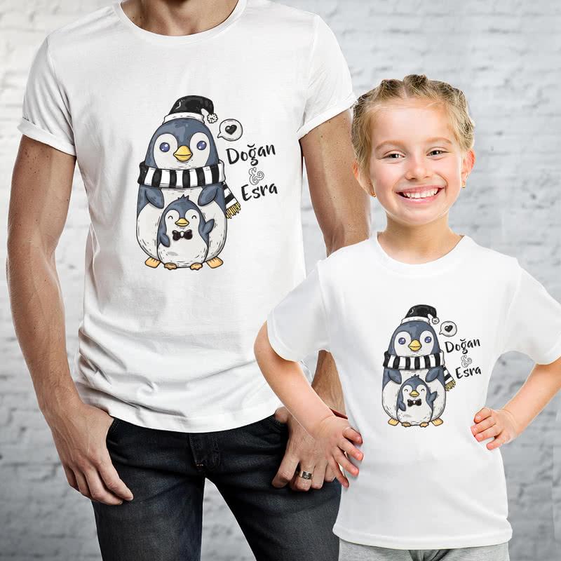 Fanatik Baba Çocuk Tasarımlı Siyah Beyaz ikili Tişört Kombini