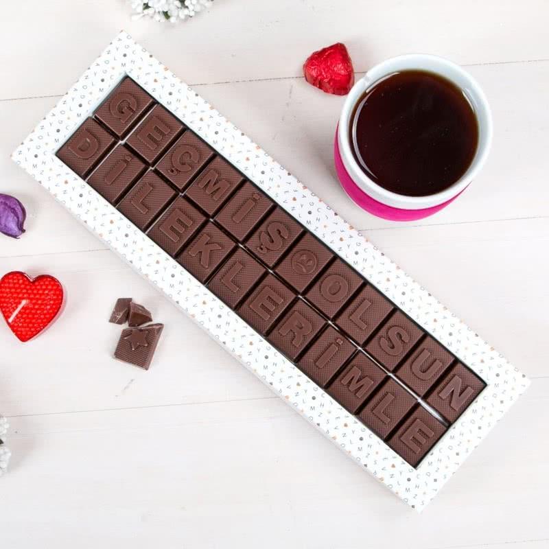 Geçmiş Olsun Dileklerimle Mesajlı Harf Çikolata