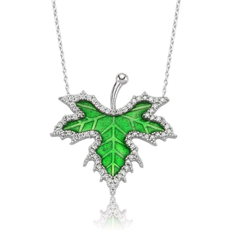 Gümüş İlkbahar Çınar Yaprağı Kolye