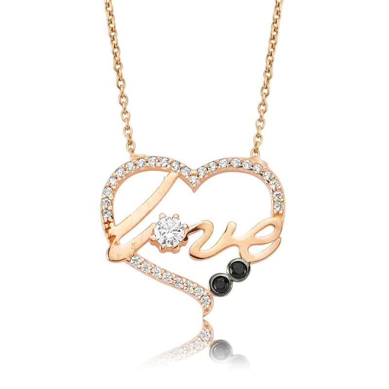 Gümüş Kalp Love Kolye