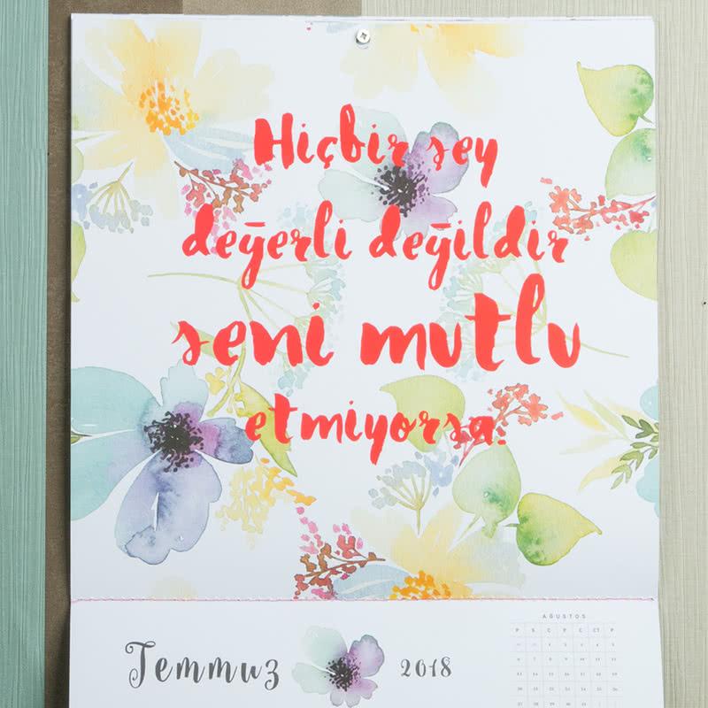 Güzel Sözler Temalı Çiçekli Duvar Takvimi