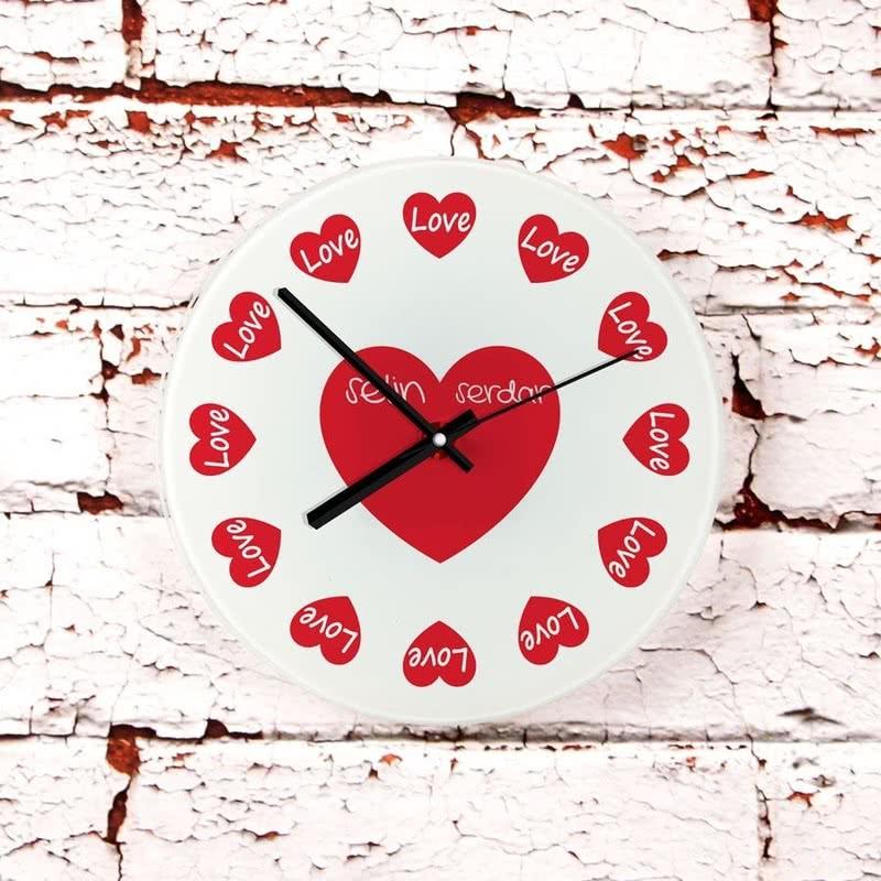 Her Saat Aşk Tasarımlı Cam Duvar Saati
