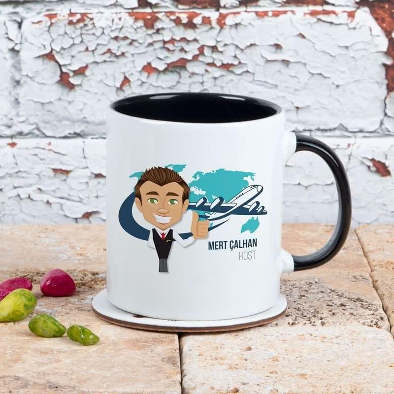 Hostlara Hediye İsim Yazılı Kahve Kupası