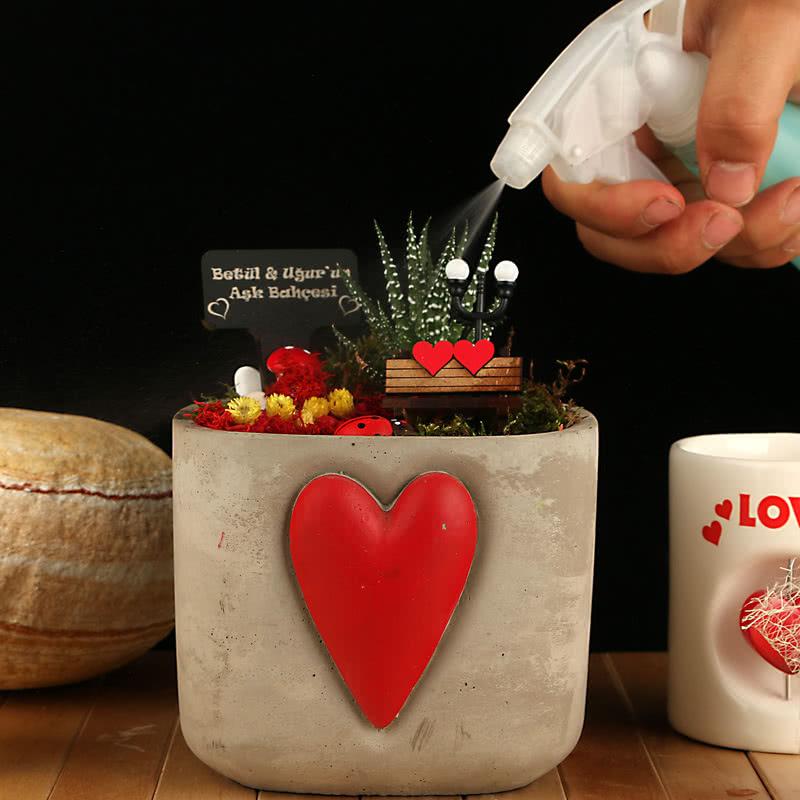 Kadınlara Sevgililer Günü'nde Kalp Saksılı Minyatür Bahçe