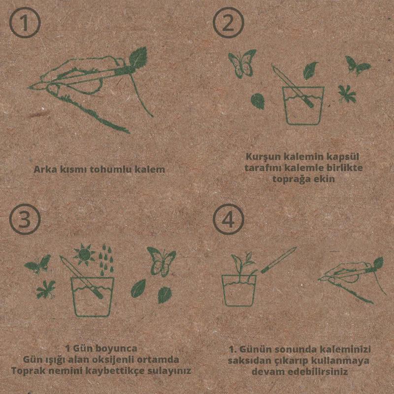 Karaçam Tohumlu Organik Kişiye Özel 5li Kalem Seti