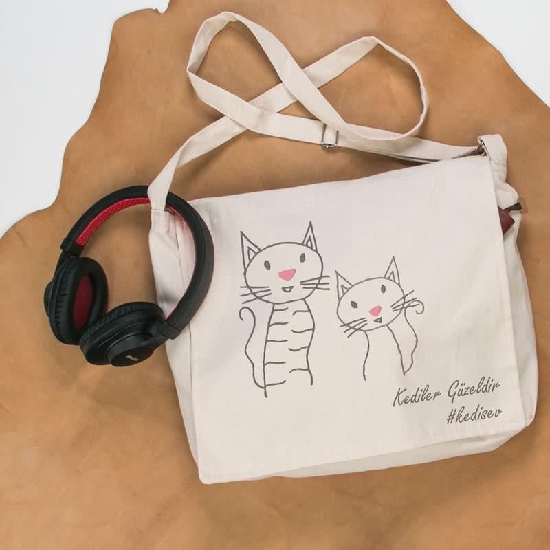 Kedi Sevenlere Özel Postacı Tipi Çanta