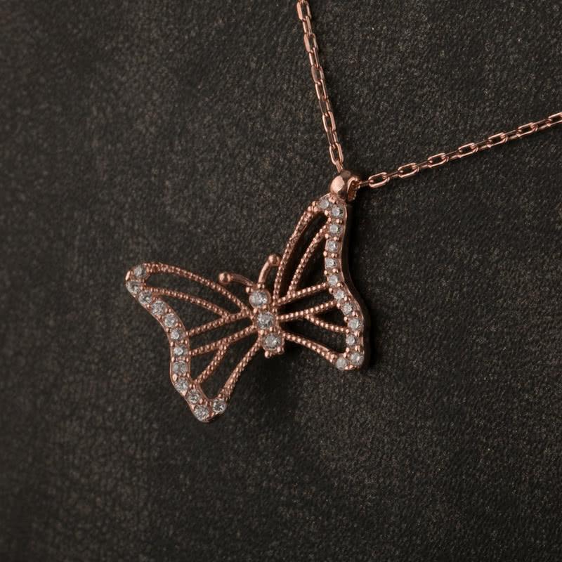 Kelebek Tasarımlı Zirkon Taşlı Rose Kaplama Gümüş Kolye