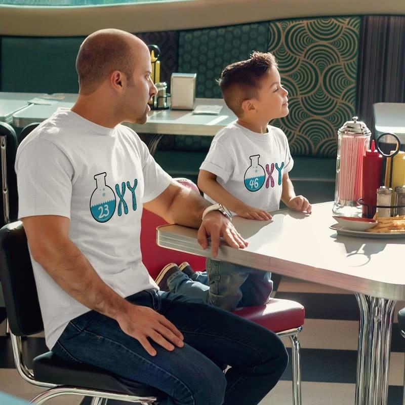 Kromozom Tasarımlı 3 lü Aile Tişört Seti