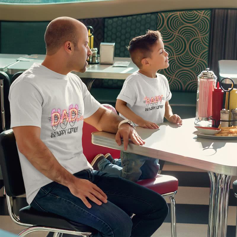 Led Pano Tasarımlı 3 lü Aile Tişört Seti