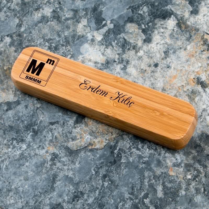 Muhasebeciye Hediye SMMM Logolu Bambu Kutulu Kalem Seti