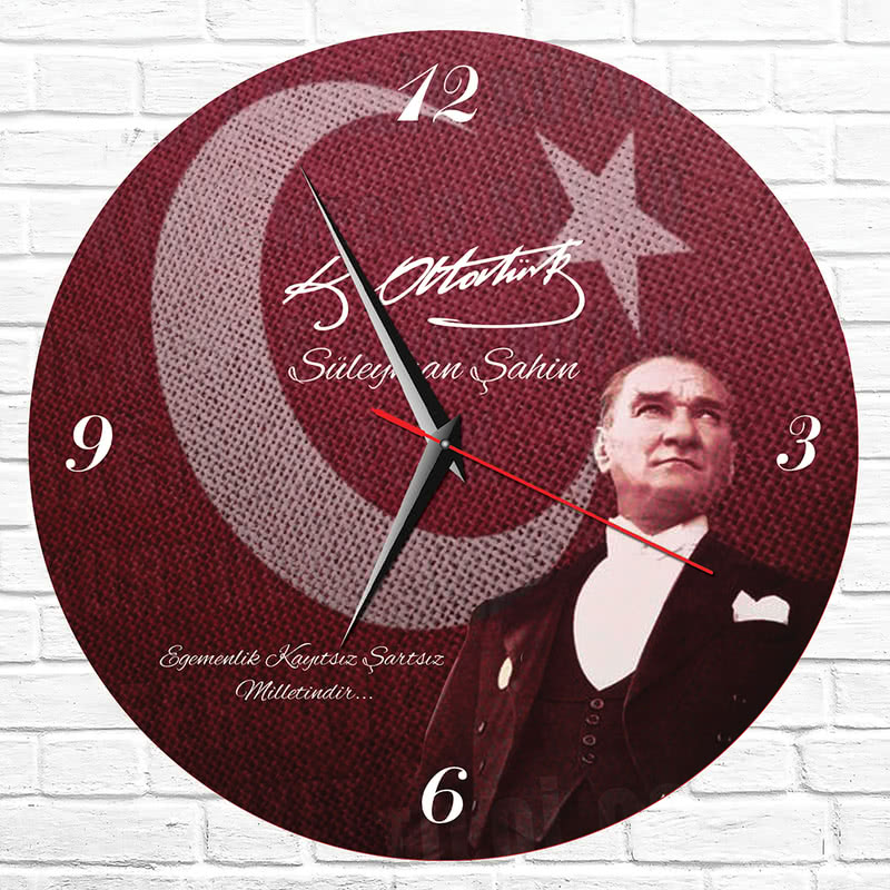 Mustafa Kemal Atatürk İmzalı ve Fotoğraflı Duvar Saati
