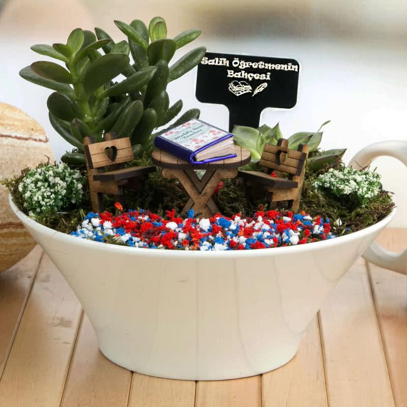 öğretmene Hediye El Yapımı Canlı Minyatür Bahçe Hediye Sepeti