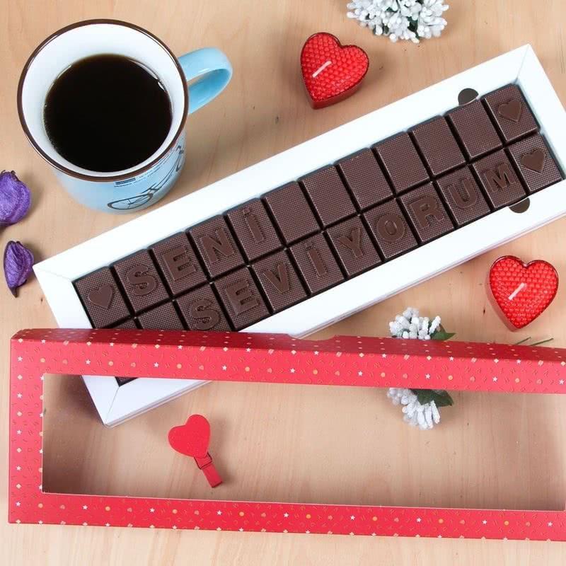 Seni Seviyorum Mesajlı Harf Çikolata