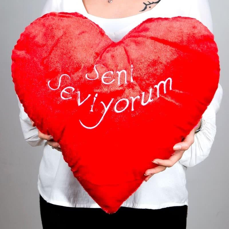 Seni Seviyorum Yazılı 50 Cm Kırmızı Kalp Yastık