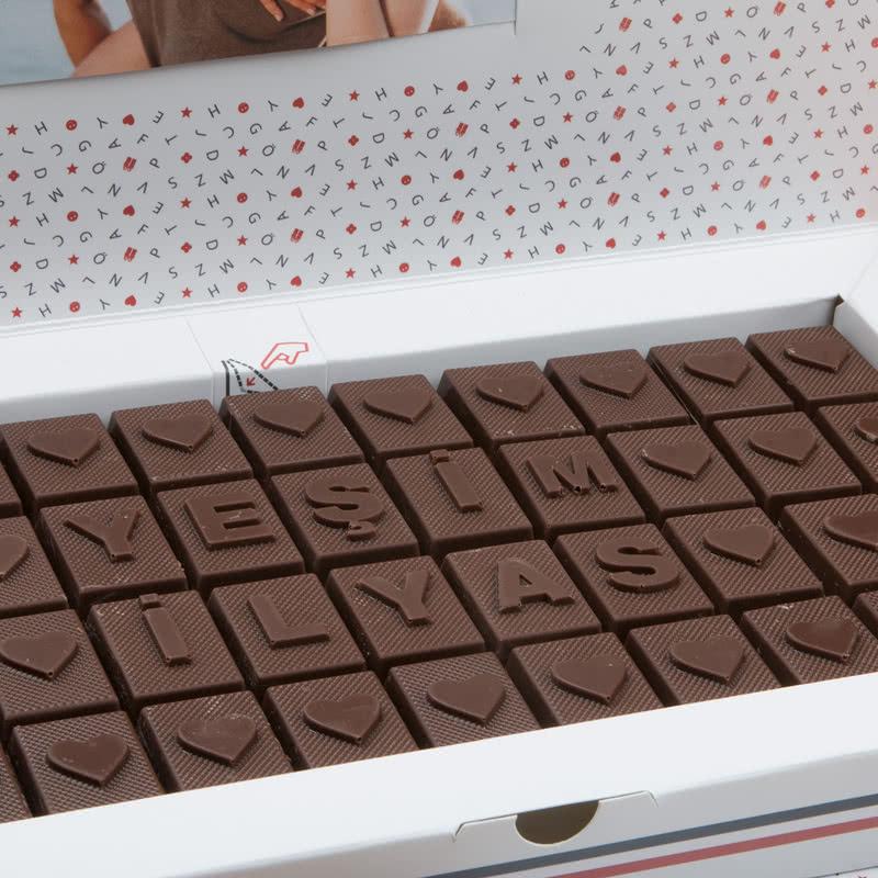 Sevgililere Özel Kalpli Harf Çikolata