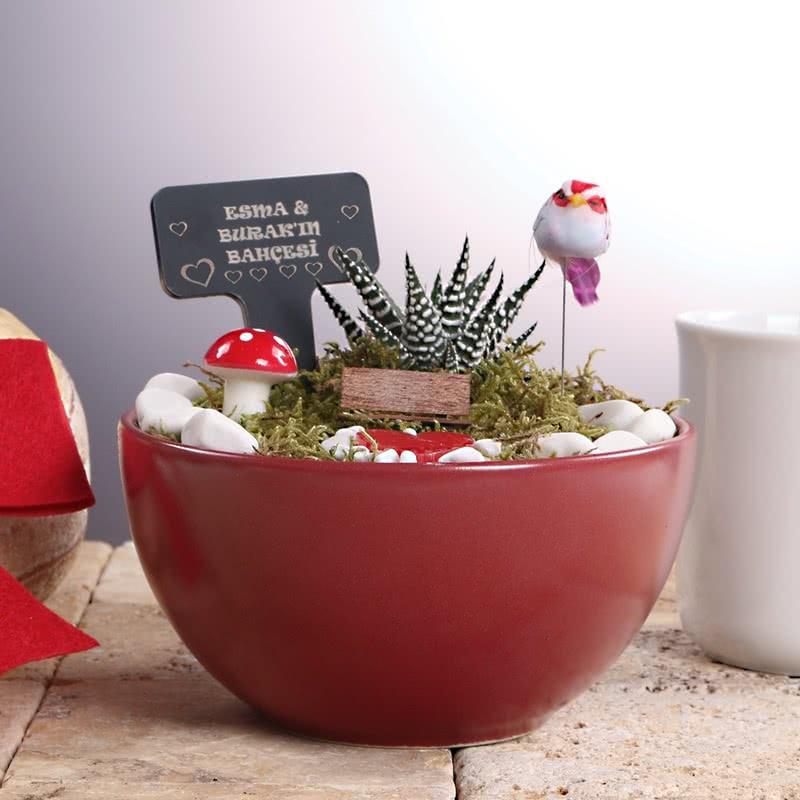 Sevgiliye Hediye Kuşlu Minyatür Bahçe