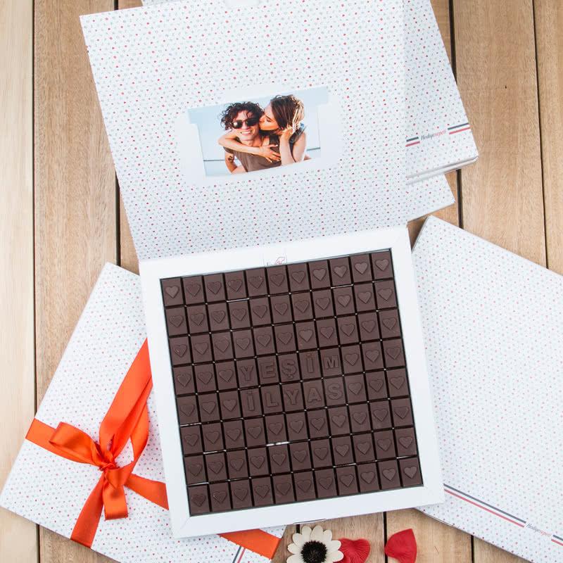 Sevgiliye Özel Kalpli 88 Harf Çikolata