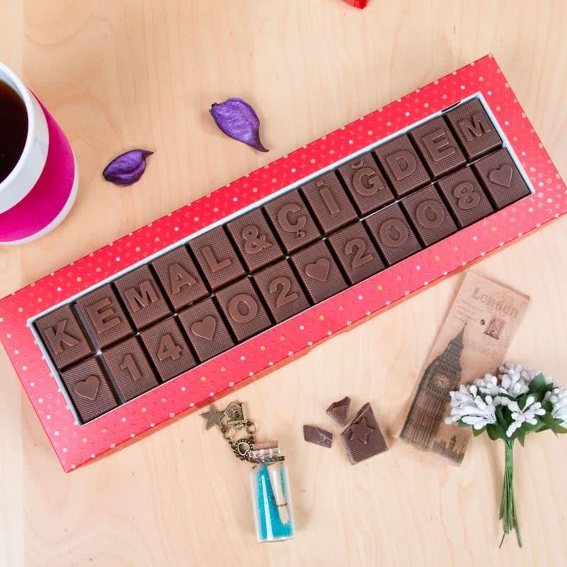 Sevgiliye Yıldönümü Hediyesi Harf Çikolata