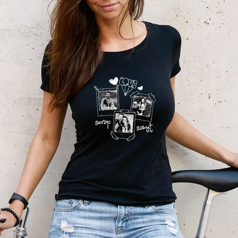 Siyah Beyaz Fotoğraf Baskılı İsme Özel Tişört Kombini