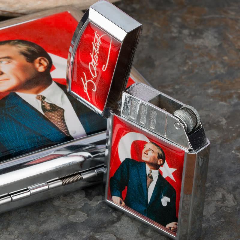Atatürk Tasarımlı Çakmak ve Sigara Tabakası Seti