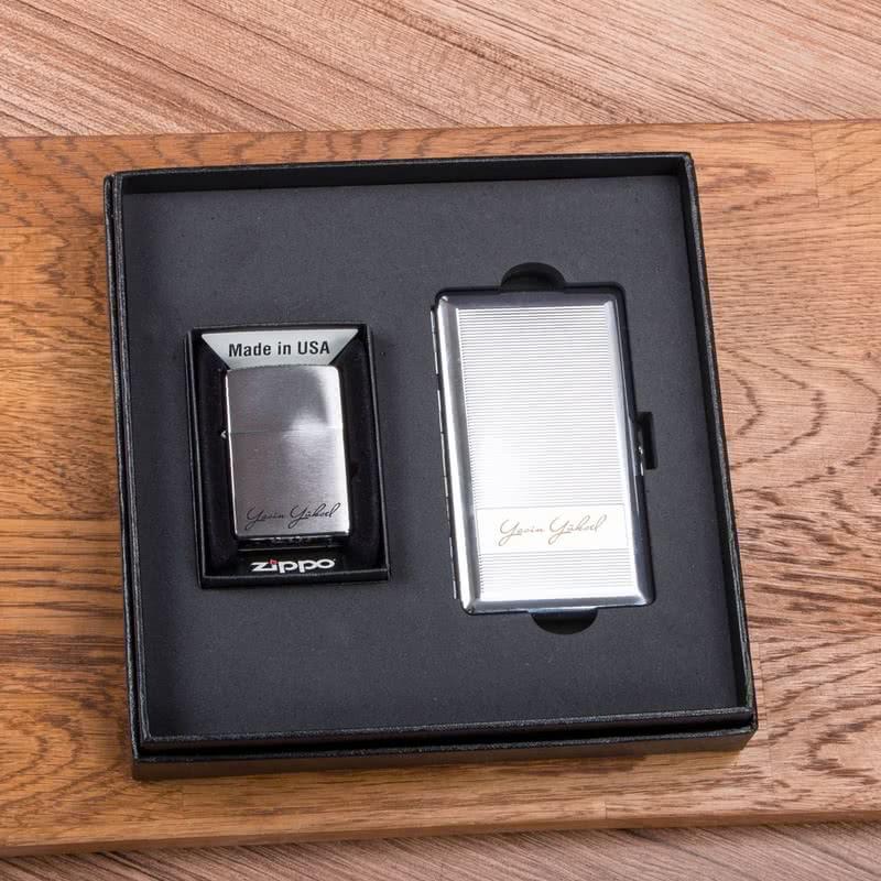VIP Zippo ve Sigara Tabakası Hediye Seti