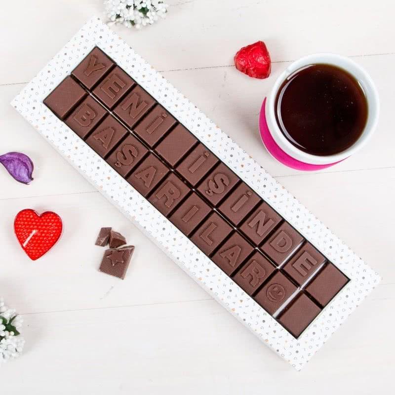 Yeni İşinde Başarılar Mesajlı Harf Çikolata