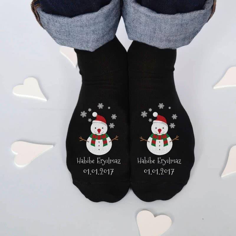 Kişiye Özel Yılbaşı Tasarımlı 6 Çift Çorap Seti