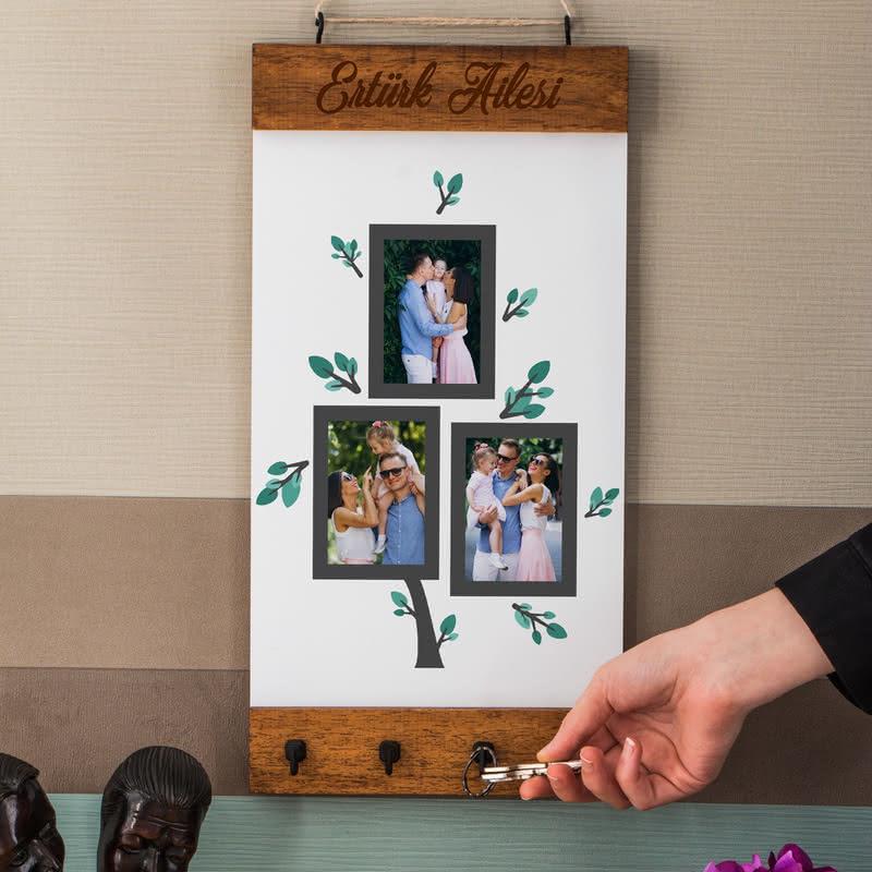 Aile Ağacı Fotoğraf Baskılı Masif Duvar Anahtarlığı