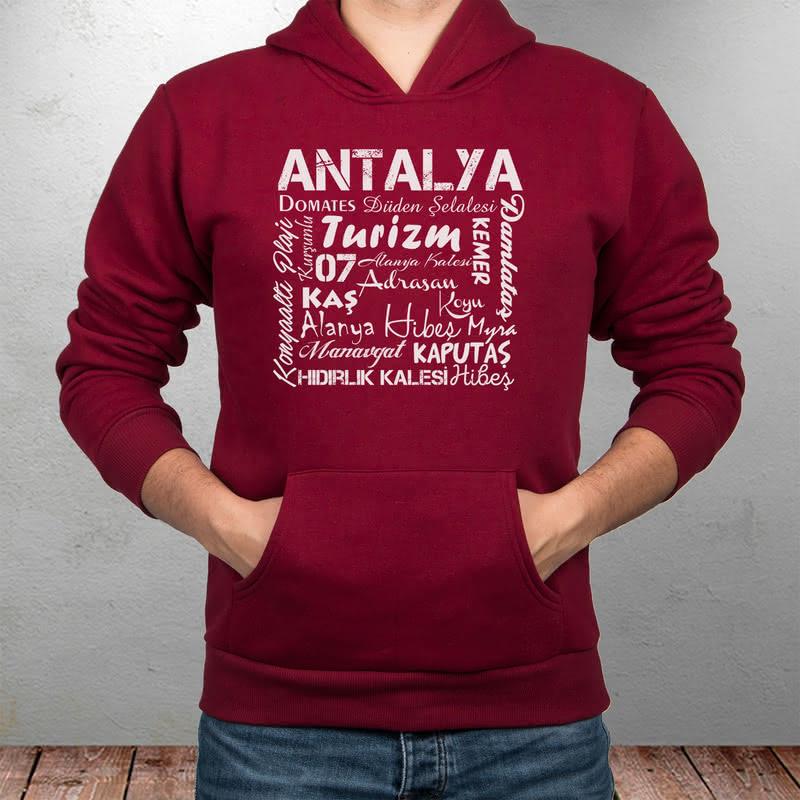 Antalyalılara Özel Şehir Özellikleri Tasarımlı Kapşonlu Sweatshirt