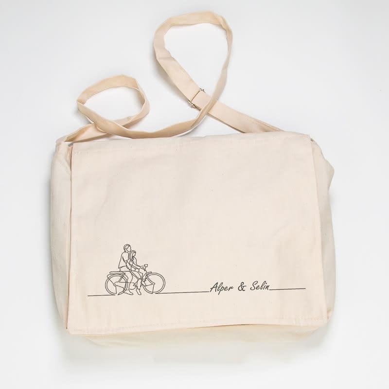 Aşık Bisikletliler Tasarımlı Çanta