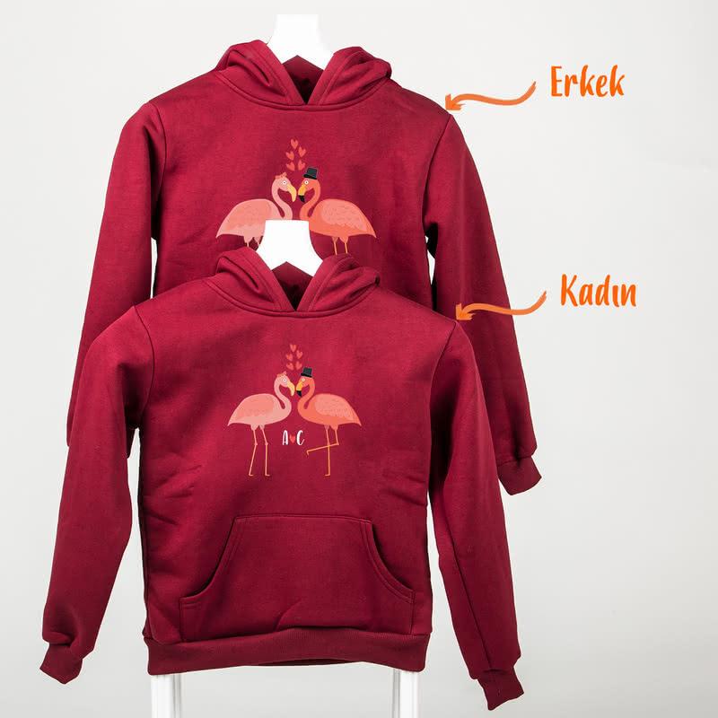 Aşık Flamingolar Kapşonlu Sevgili Sweatshirtleri