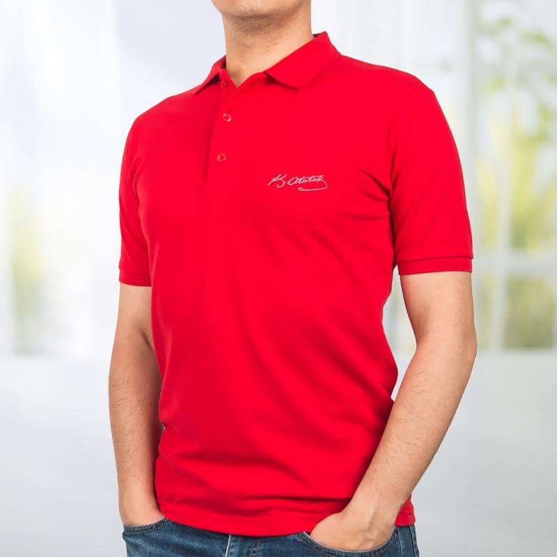Atatürk İmzalı Baş Harf İşlemeli Polo Yaka Tişört