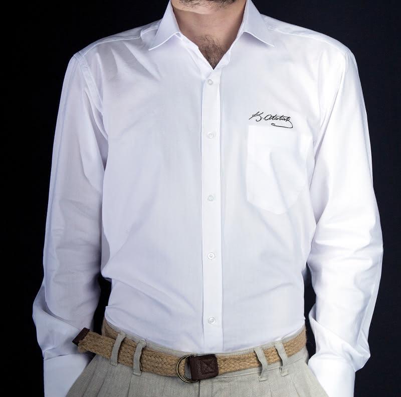 Atatürk İmzalı Kişiye Özel Nakışlı Gömlek