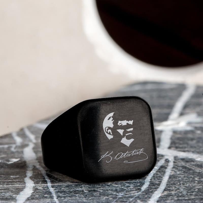 Atatürk Silüeti ve İmzası Tasarımlı Metal Yüzük