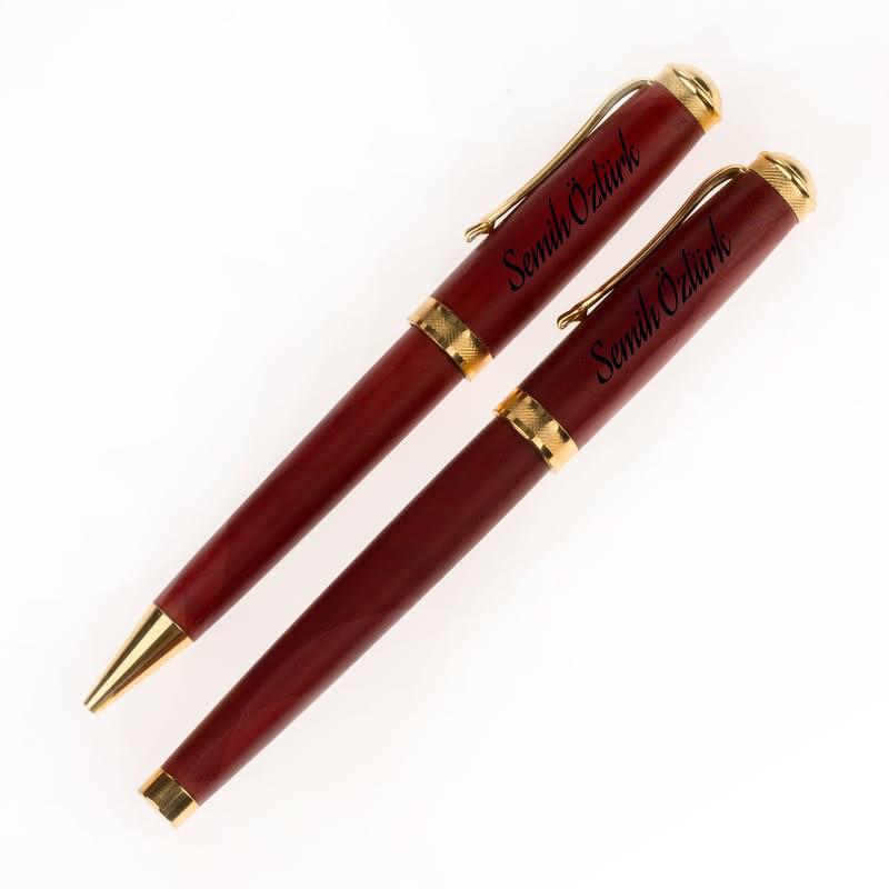 Atatürkçülere Özel Ahşap Kutulu İkili Kalem Seti
