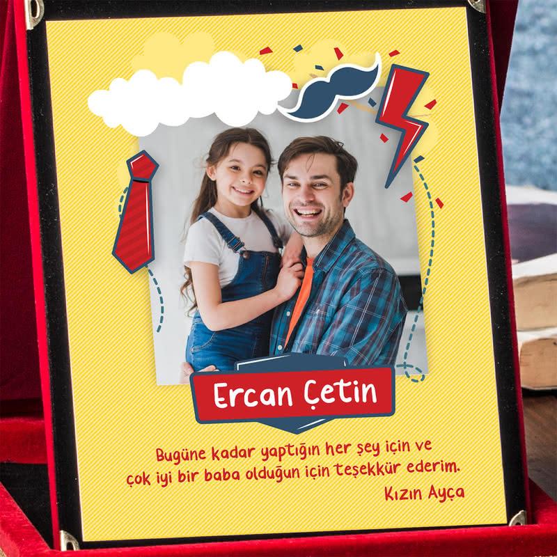 Babalar Günü Hediyesi Fotoğraflı Mesaj Yazılı Plaket