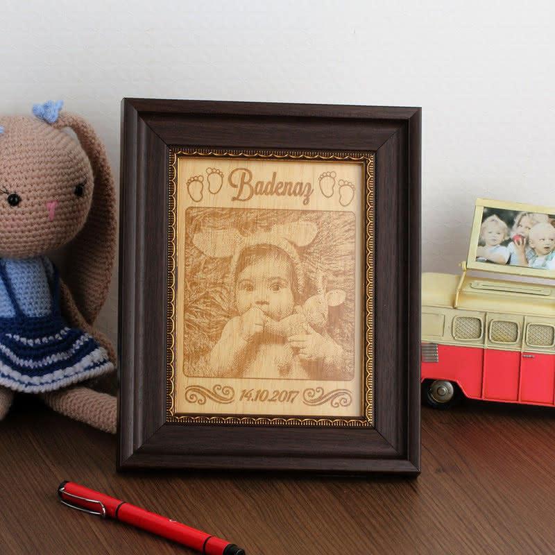 Bebek Hediyesi Çerçeveli Mini Boy Ahşapfoto 