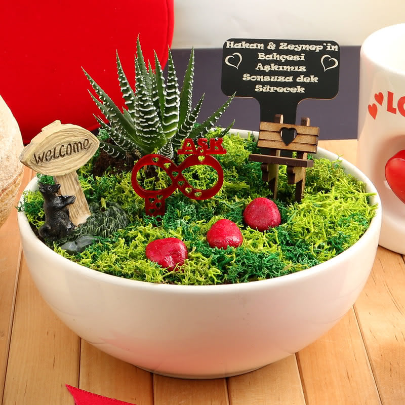 Büyük Aşklara Özel Canlı Minyatür Bahçe