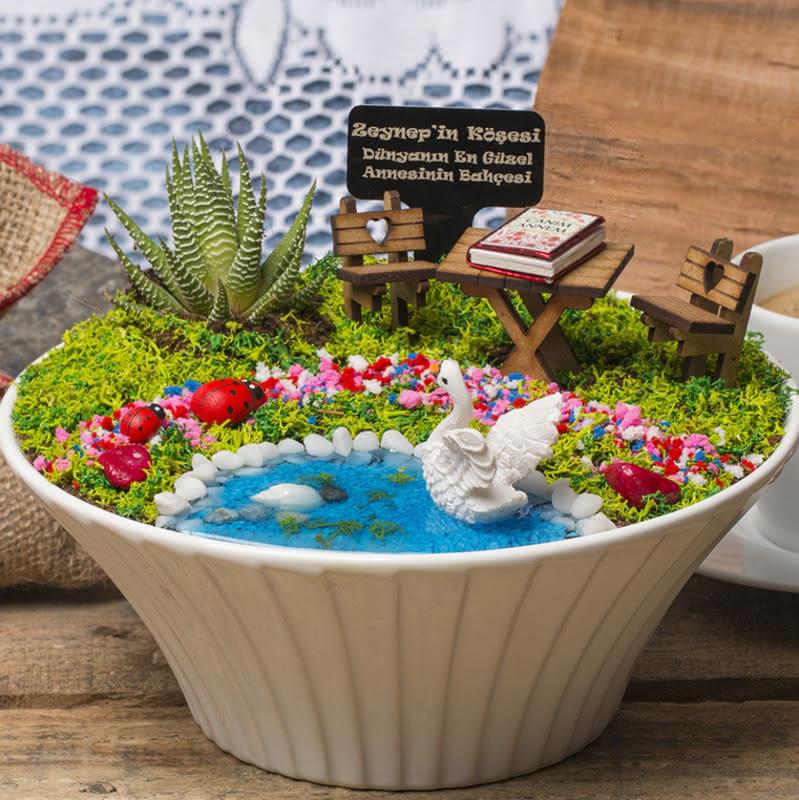 Canım Anneme Hediye Canlı Minyatür Bahçe