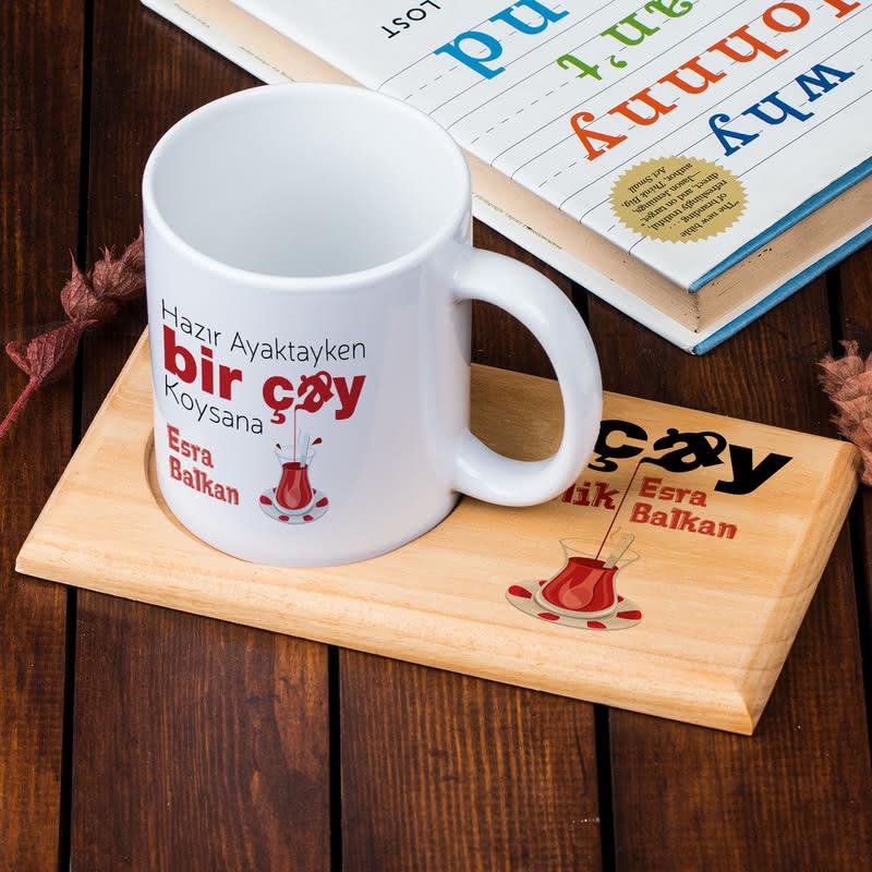 Çay Koliklere Özel Esprili Ahşap Tablalı Kupa