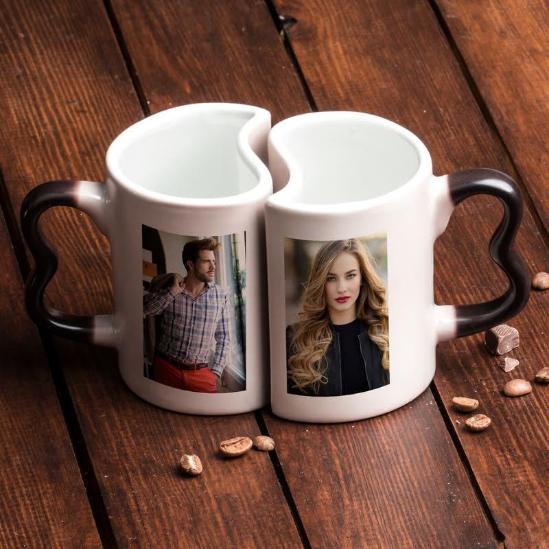 Çiftlere Özel Fotoğraf Baskılı Aşk Kupası - Sihirli Kupa