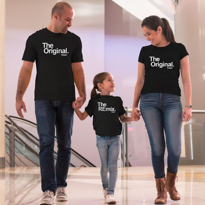 Eğlenceli İsim Yazılı 3lü Aile Tişörtü