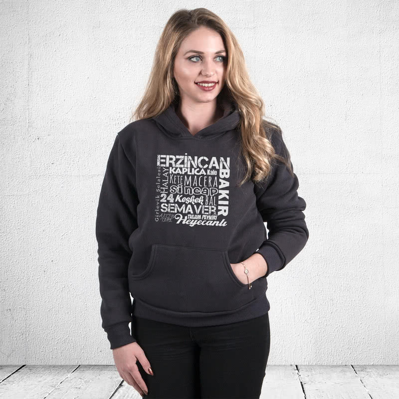 Erzincanlıya Özel Hediyelik Kapşonlu Sweatshirt