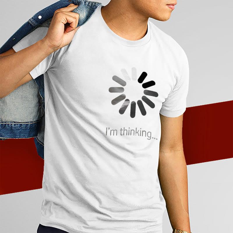 Esprili Düşünüyorum Mesaj Baskılı Tişört