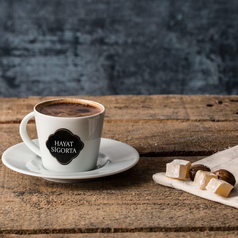 Firma İsmi Baskılı 6lı Türk Kahve Fincanı Seti