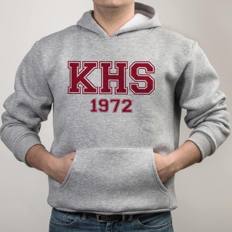 Harf ve Tarih Baskılı Kapşonlu Sweatshirt