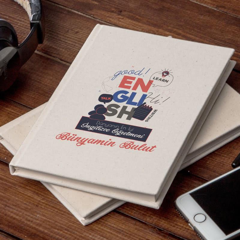 İngilizce Öğretmenlerine Hediye Kişiye Özel Kanvas Defter